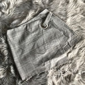 Forever 21 Grey Plaid Faux Wrap Skirt